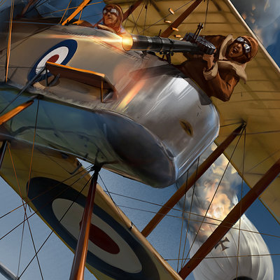 Sviatoslav gerasimchuk biplane battle scene