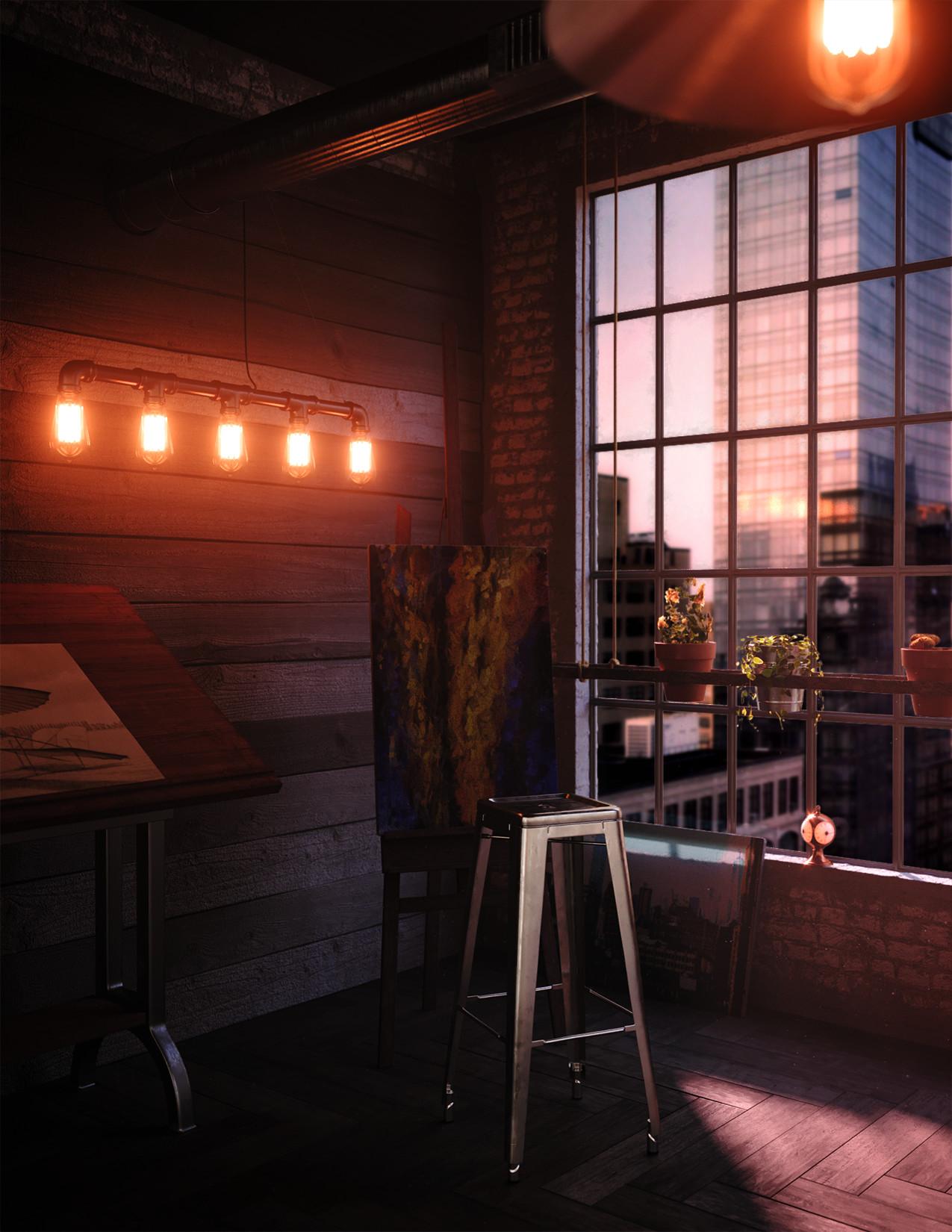 Interior Render - Artist Loft