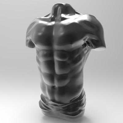 Bruno de maeyer male torso chrome black