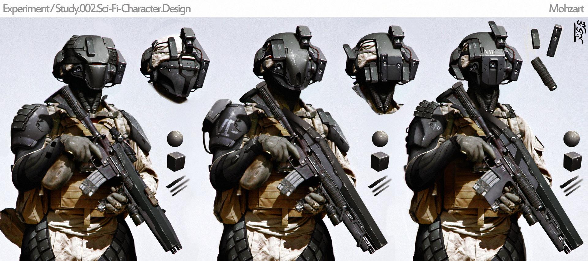Mohzart experimental modern scifi character design