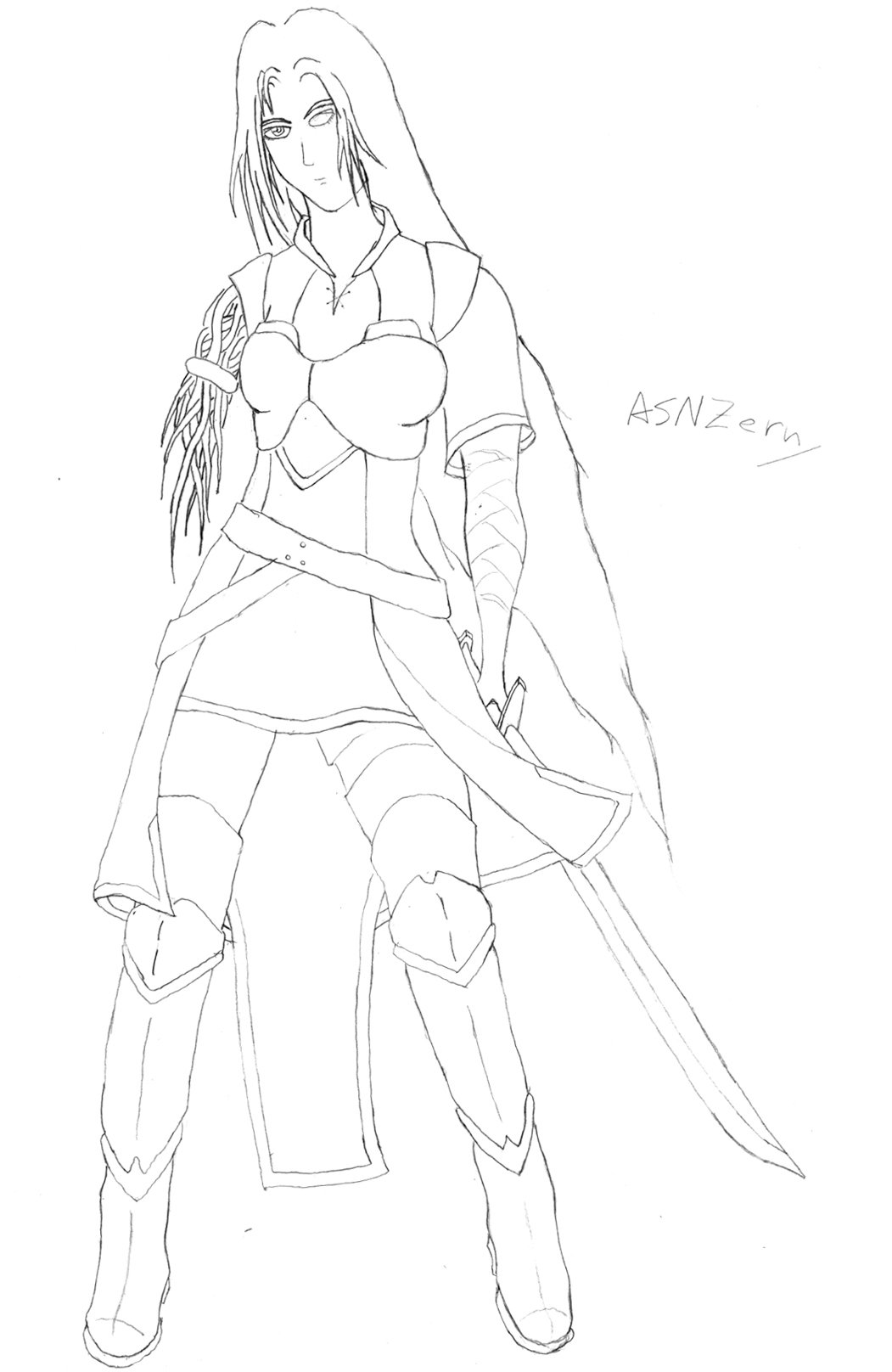 Fantasy Cyborg - Minimalist Line-art.