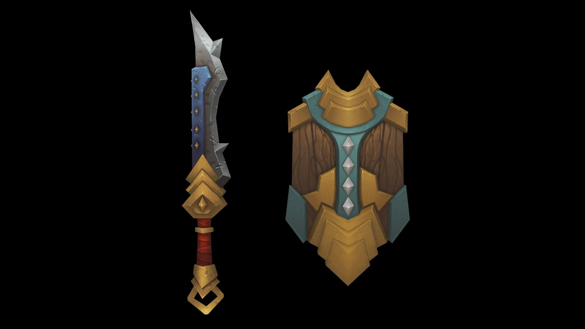 Hand Painted Shield Hand-painted Low Poly Sword/
