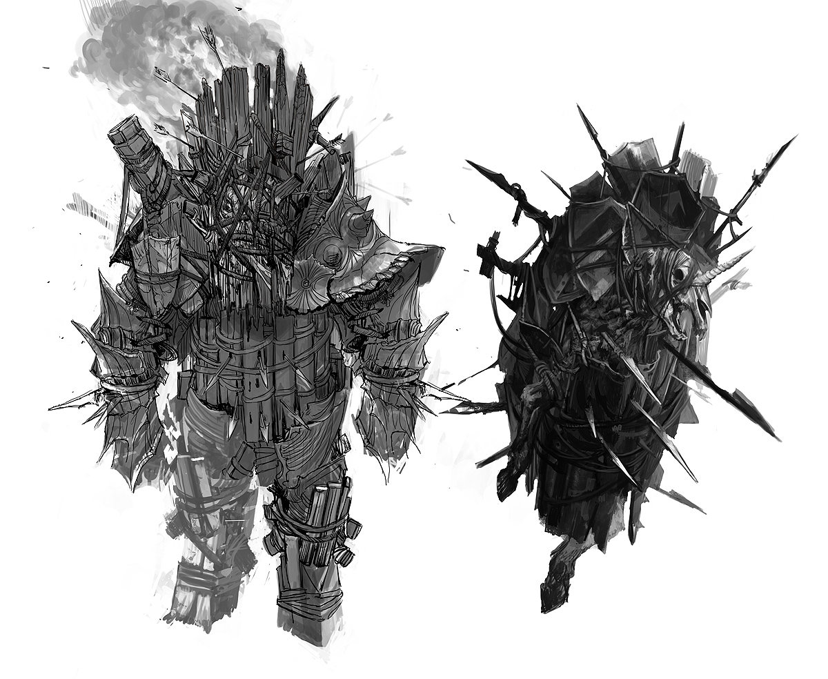 The Witcher 2 draug sketches
