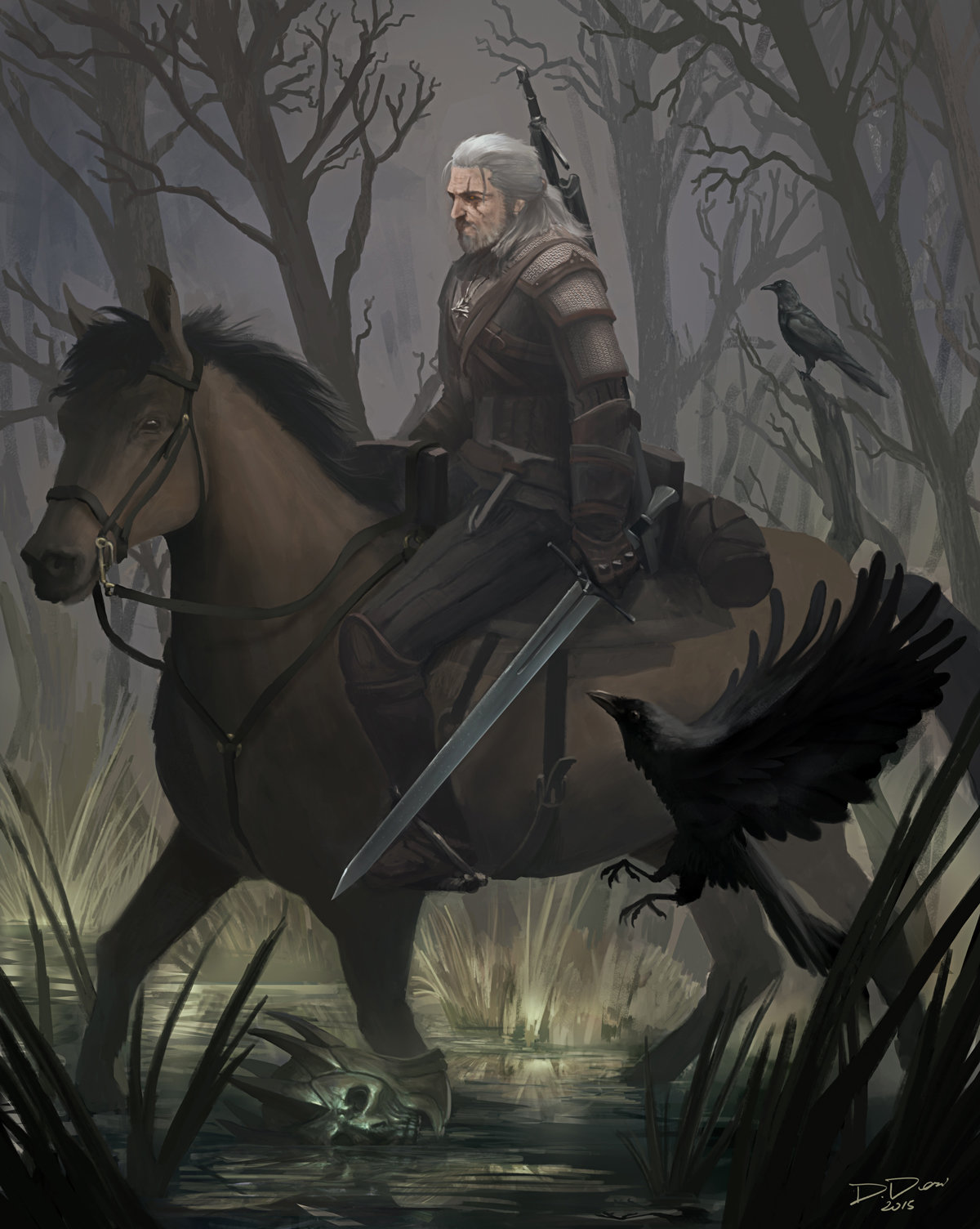 the witcher, the witcher 3, the witcher 3 wild hunt, douglas deri, deri, illustration, ilustracao, tw3, conceptart, ps4, geralt de rivia, art contest, how to paint, photoshop brushes, brushes, how to draw, como desenhar,