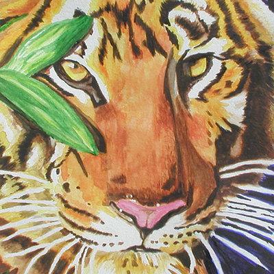K fairbanks tigerwatercolorleaves by k fairbaks
