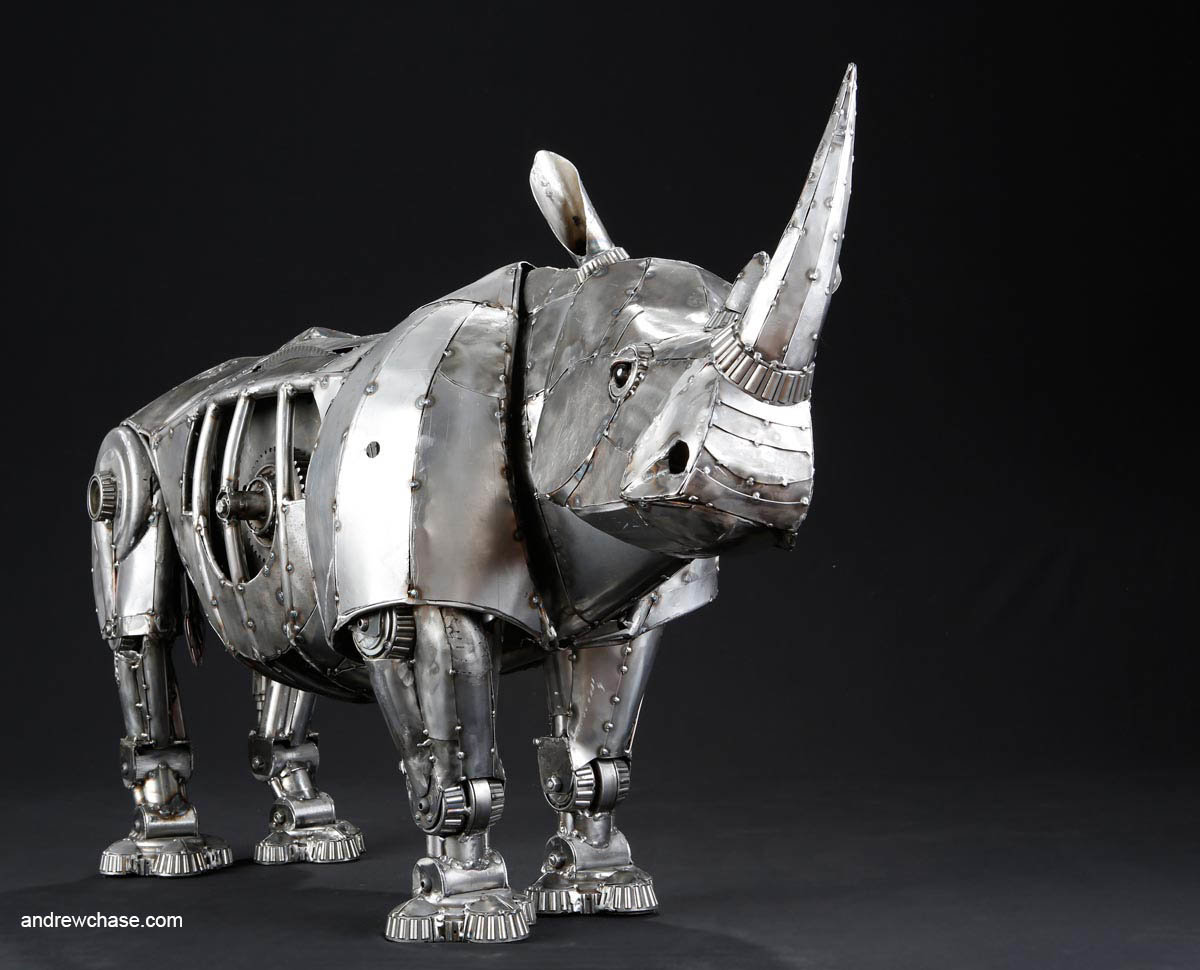 Andrew chase mechanical recycled metal articulated rhino three quarter view