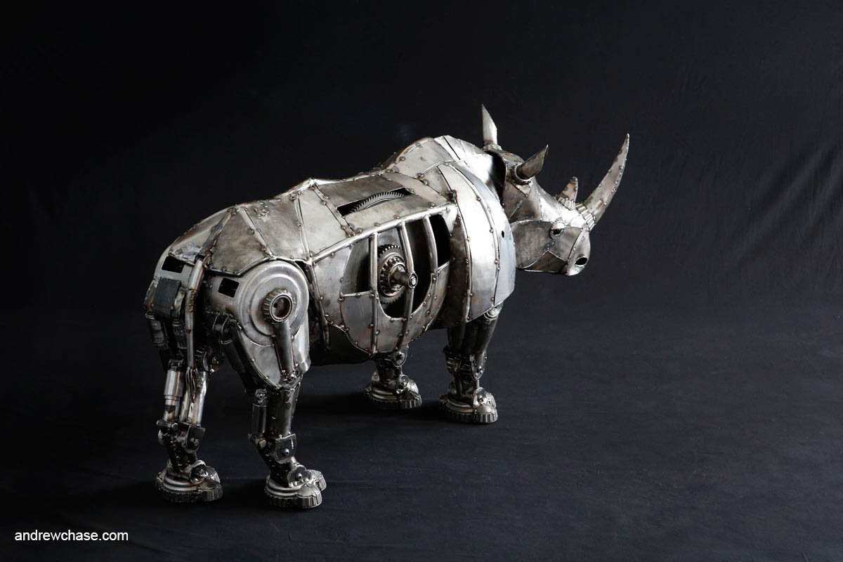 Andrew chase mechanical recycled metal articulated rhino right side 2