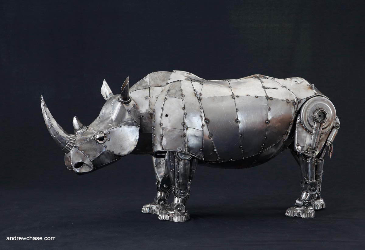 Andrew chase mechanical recycled metal articulated rhino left side 1