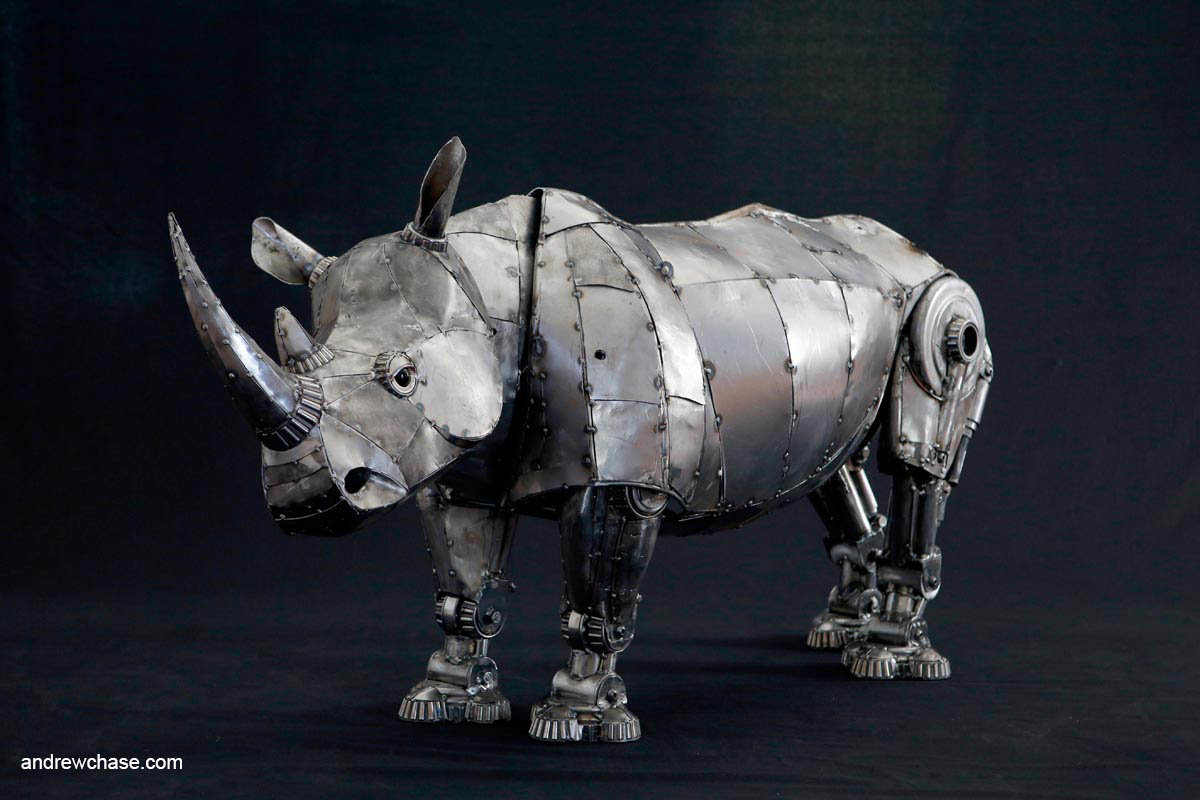 Andrew chase mechanical recycled metal articulated rhino left side