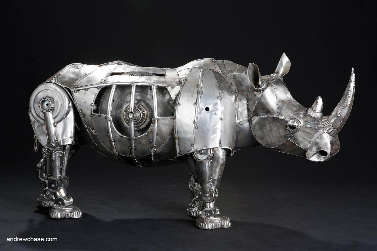 Andrew chase mechanical recycled metal articulated rhino right side 1