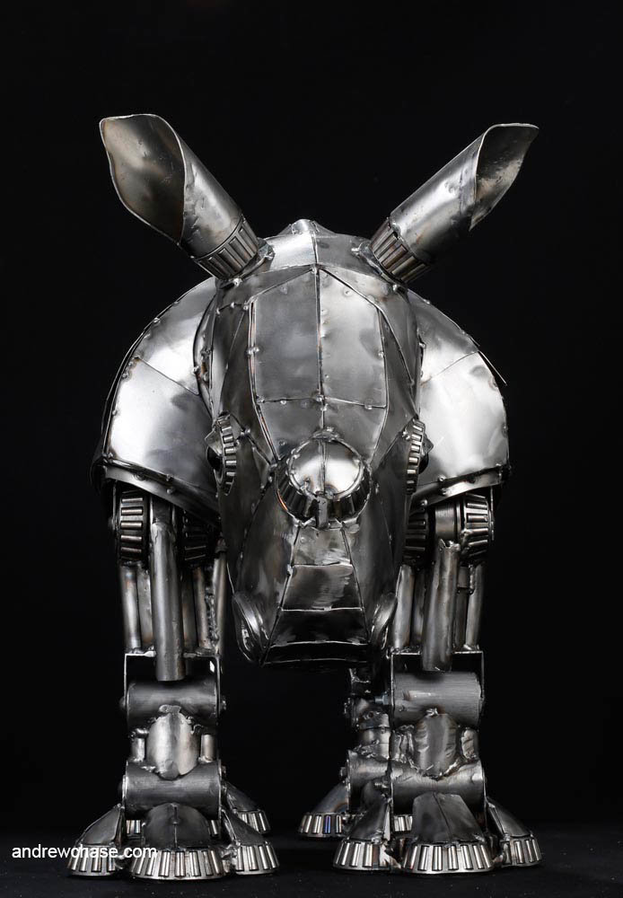 Andrew chase baby rhino metal sculpture front