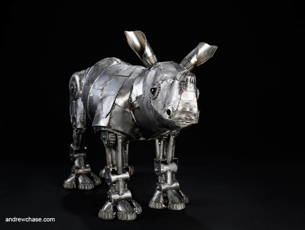Andrew chase baby rhino metal sculpture friendly 2