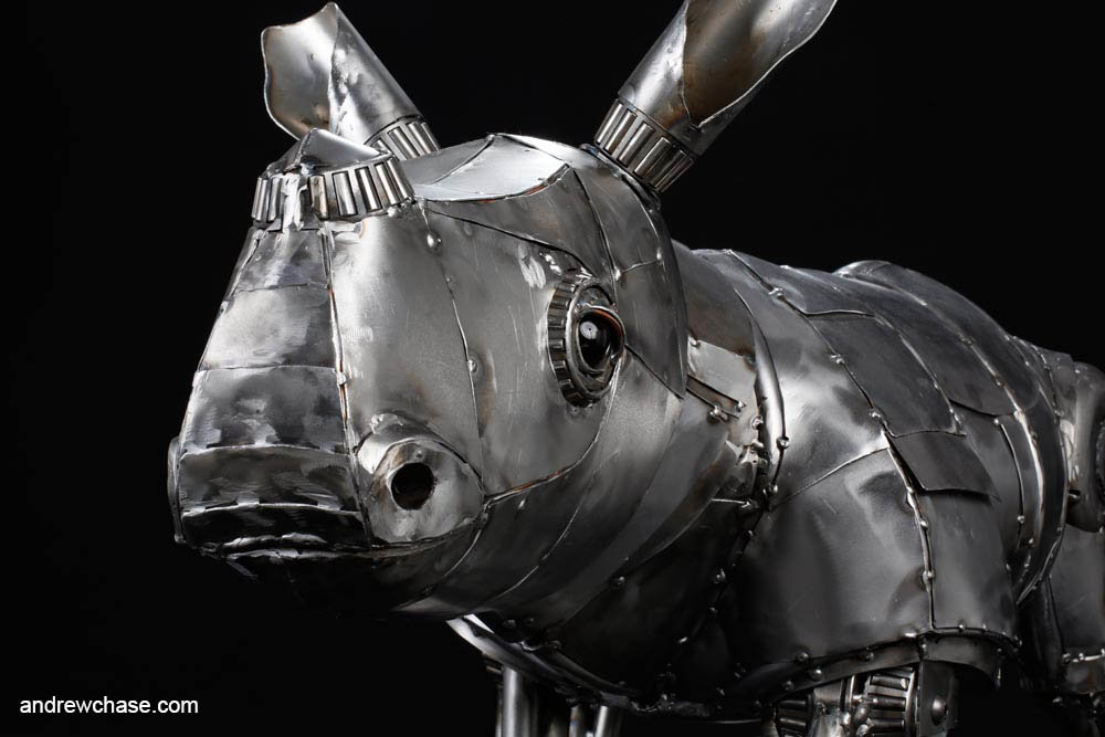 Andrew chase baby rhino metal sculpture friendly closeup