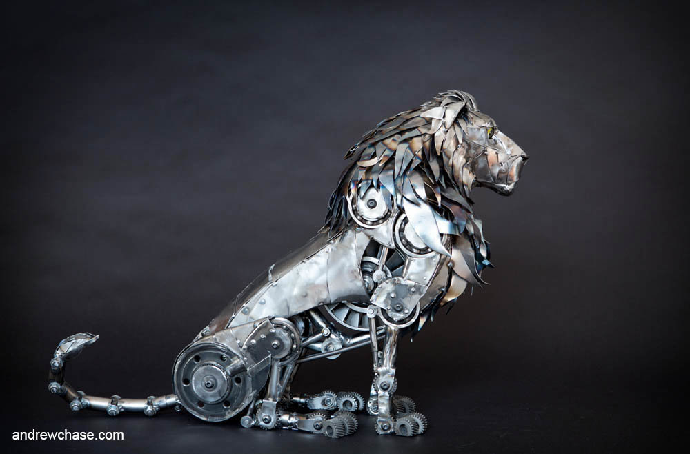 Andrew chase mechanical metal lion sittling 1 2
