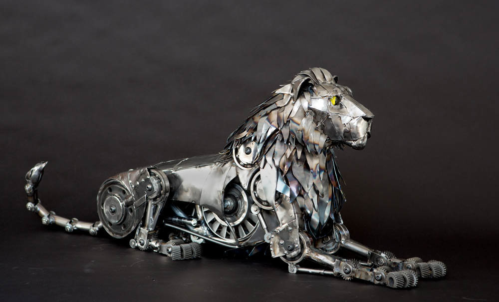 Andrew chase mechanical metal lion lying down 3