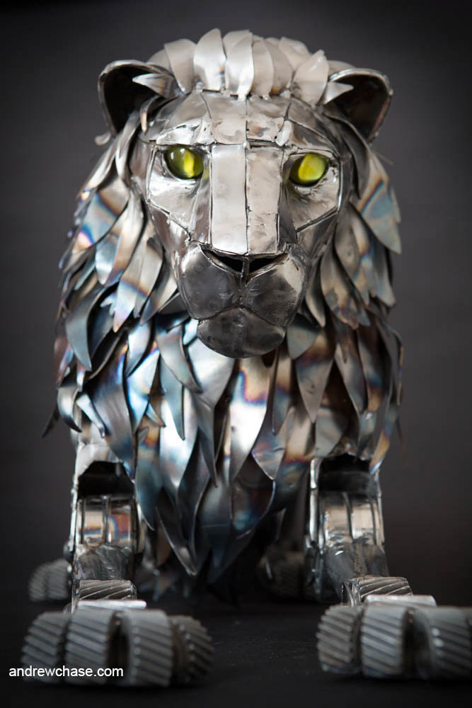 Andrew chase mechanical metal lion lying down 7