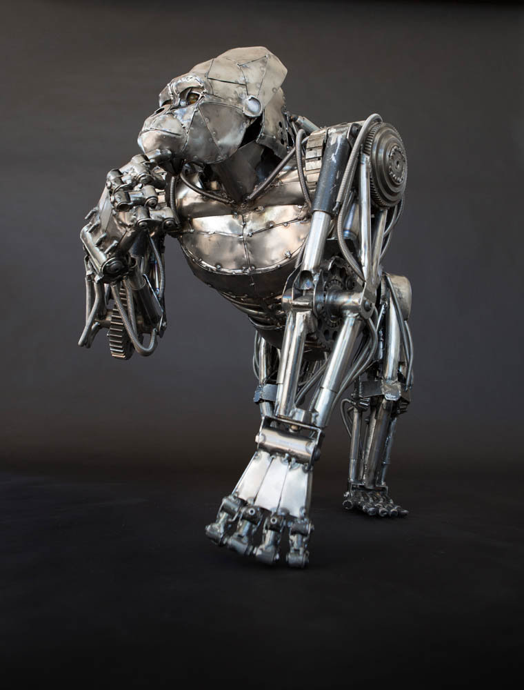 Andrew chase mechanical metal gorilla standing thinking