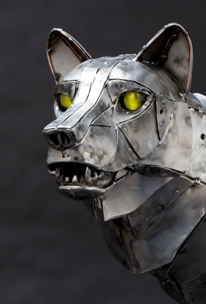 Andrew chase mechanical metal wolf head 1