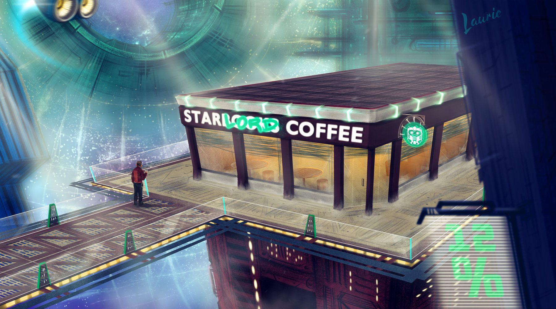 Laura escobar star lord s coffee shop in knowhere