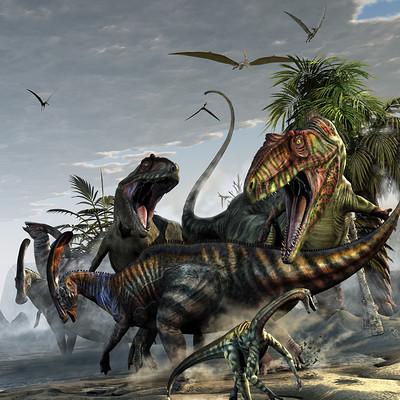 Kurt miller giganotosaurus and parasaur