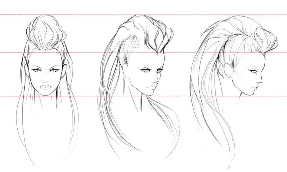 Salena barnes diana hair sketches 01