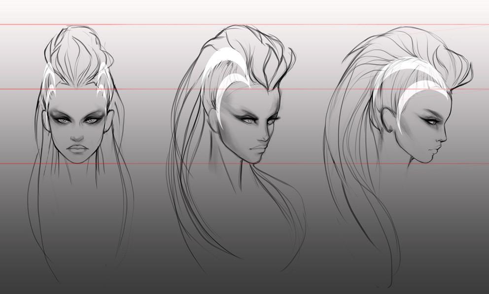 Salena barnes diana hair sketches 03