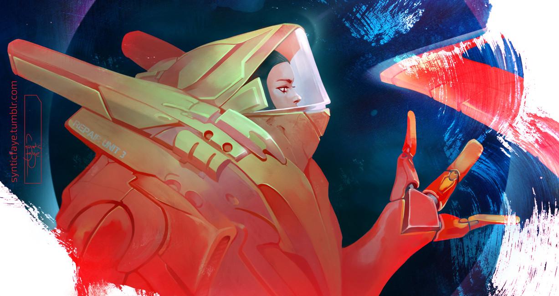 Trudy wenzel red blue spacegirl