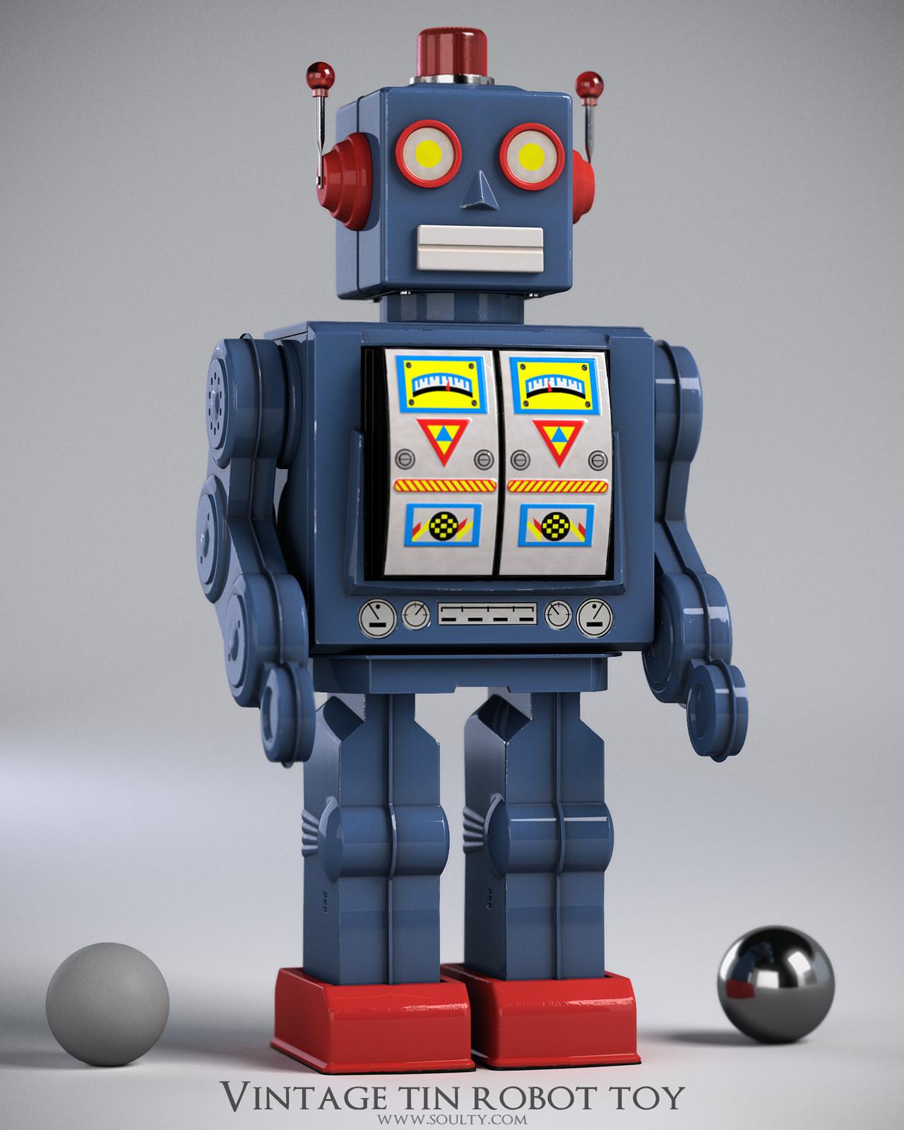 Adam sacco tin robot toy by adam sacco