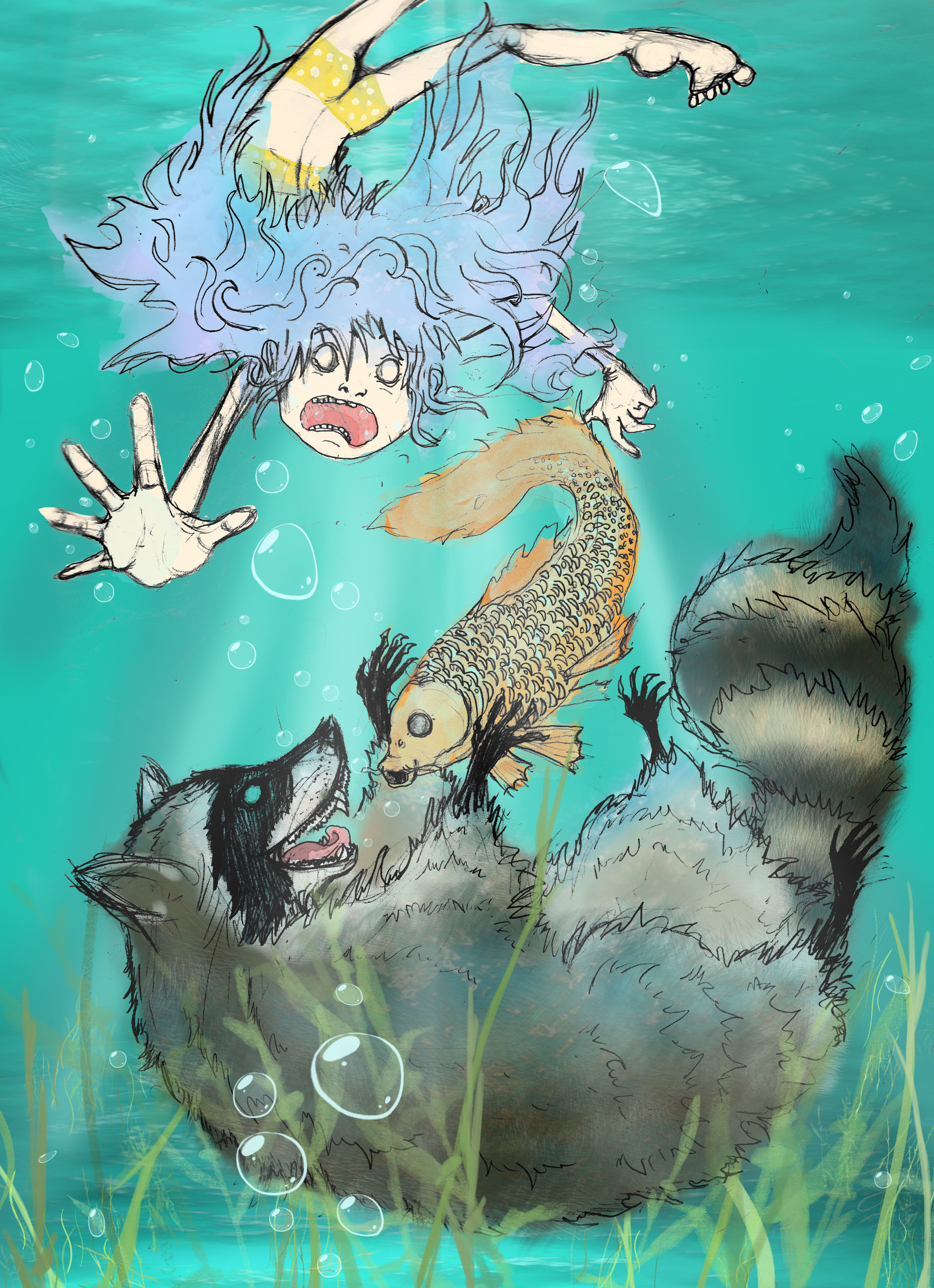 Alexandra hall pinner raccoon watercolor