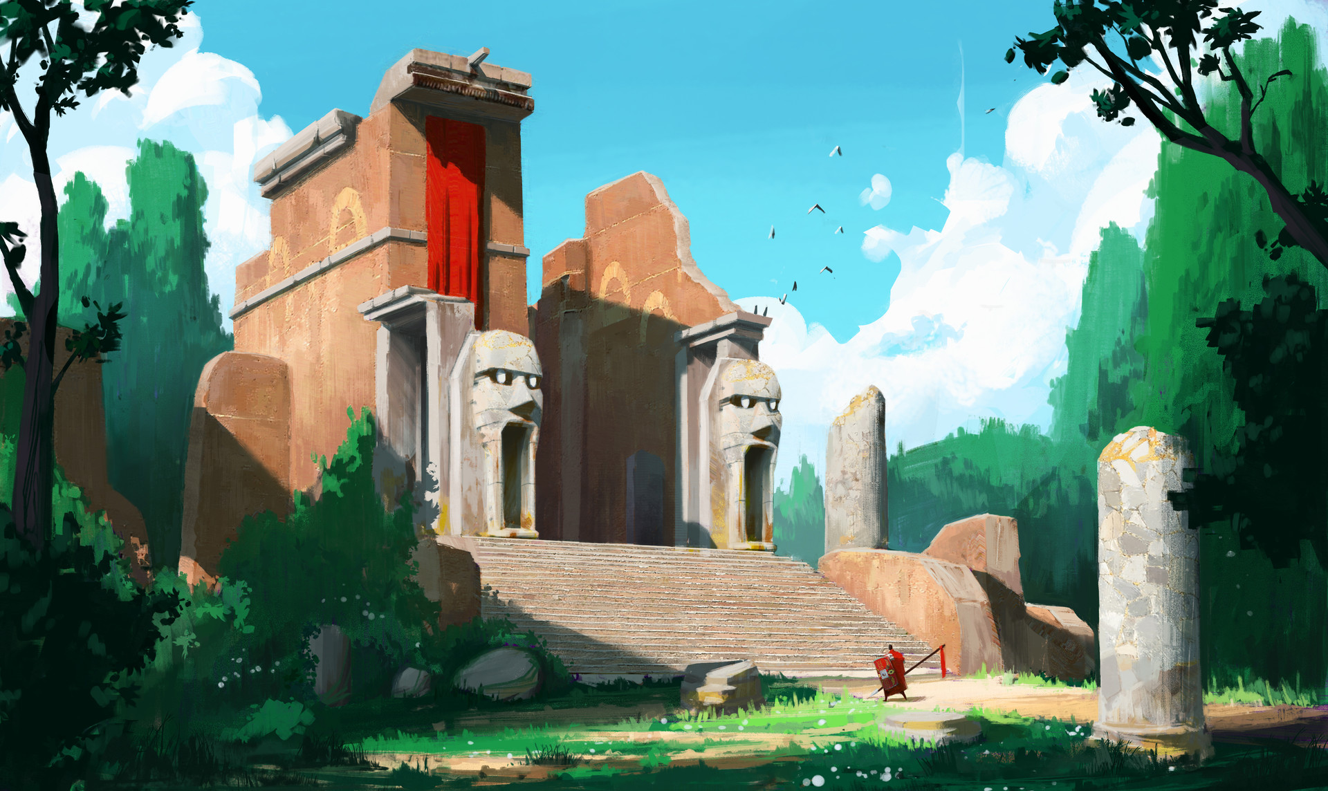 Arriving at the Temple of Faces