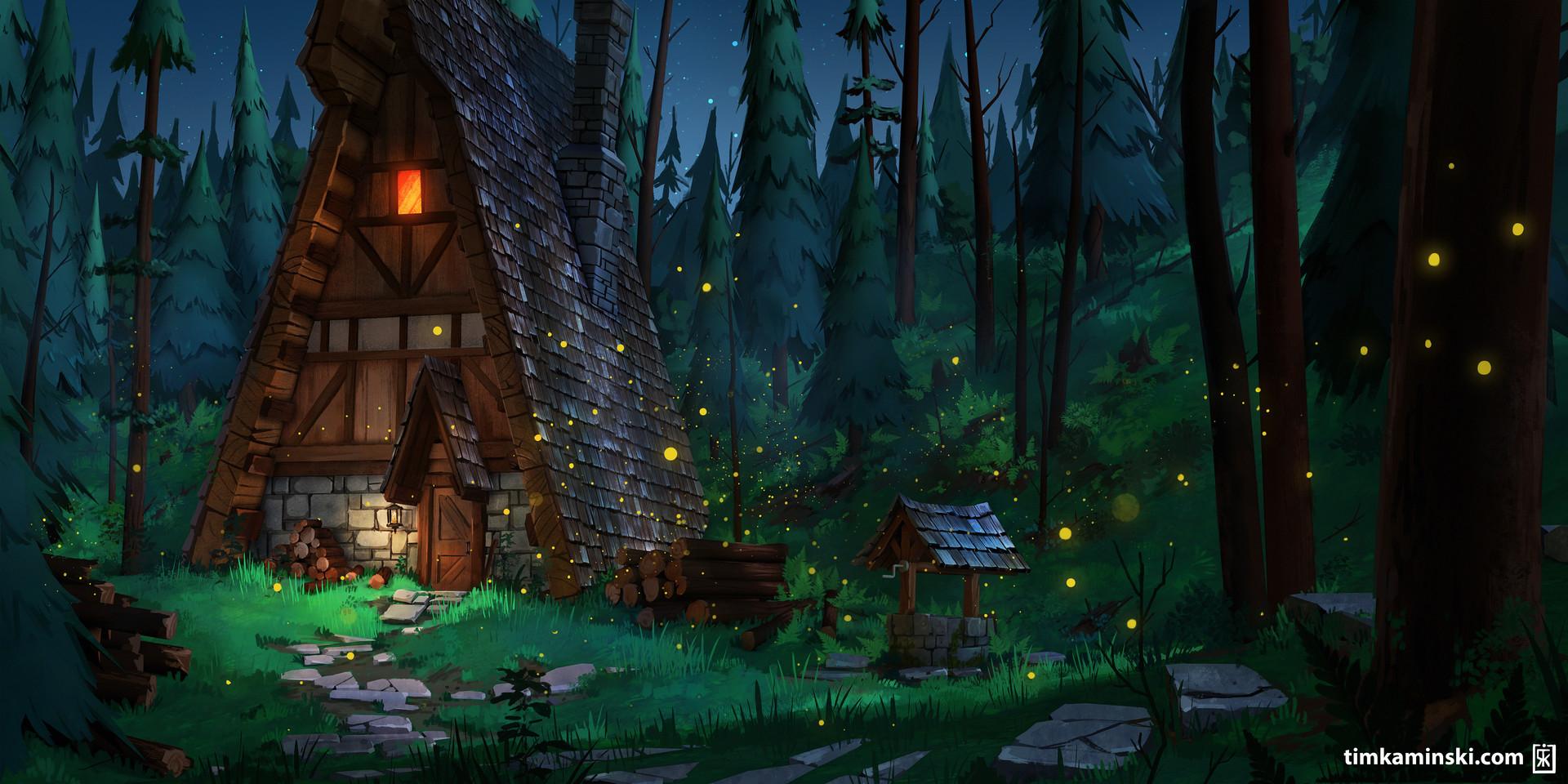 Tim kaminski forest cabin happy