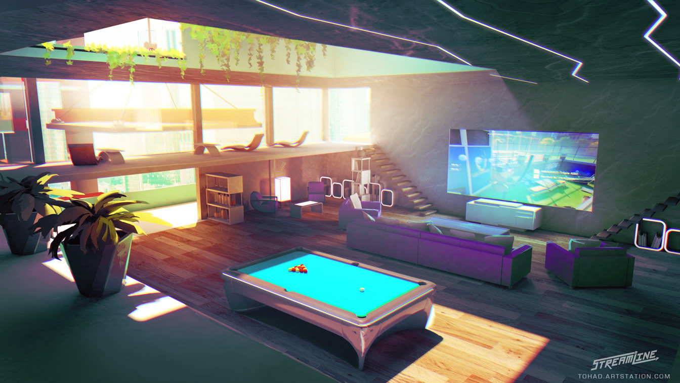 Streamline concept-art : game room