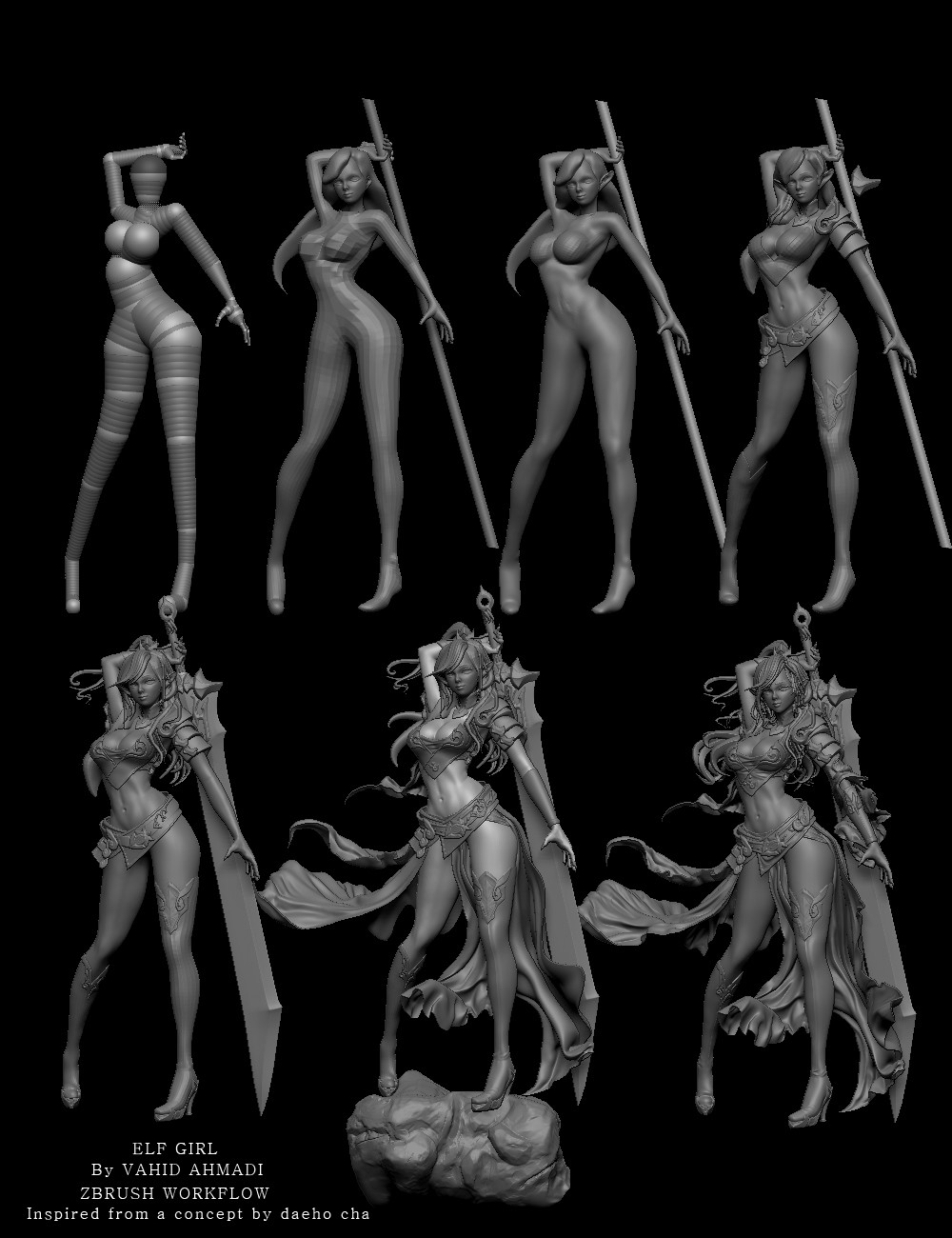 Vahid ahmadi elf girl workflow zbrush
