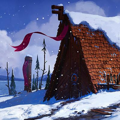 Tim kaminski snowy viking village artstation