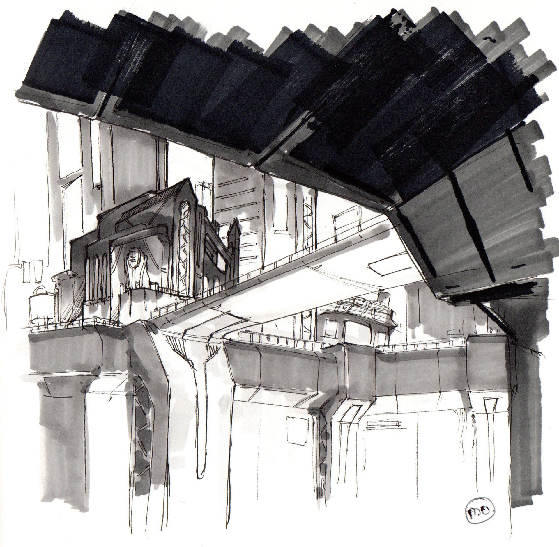 Old sci-fi cyberpunk city sketch