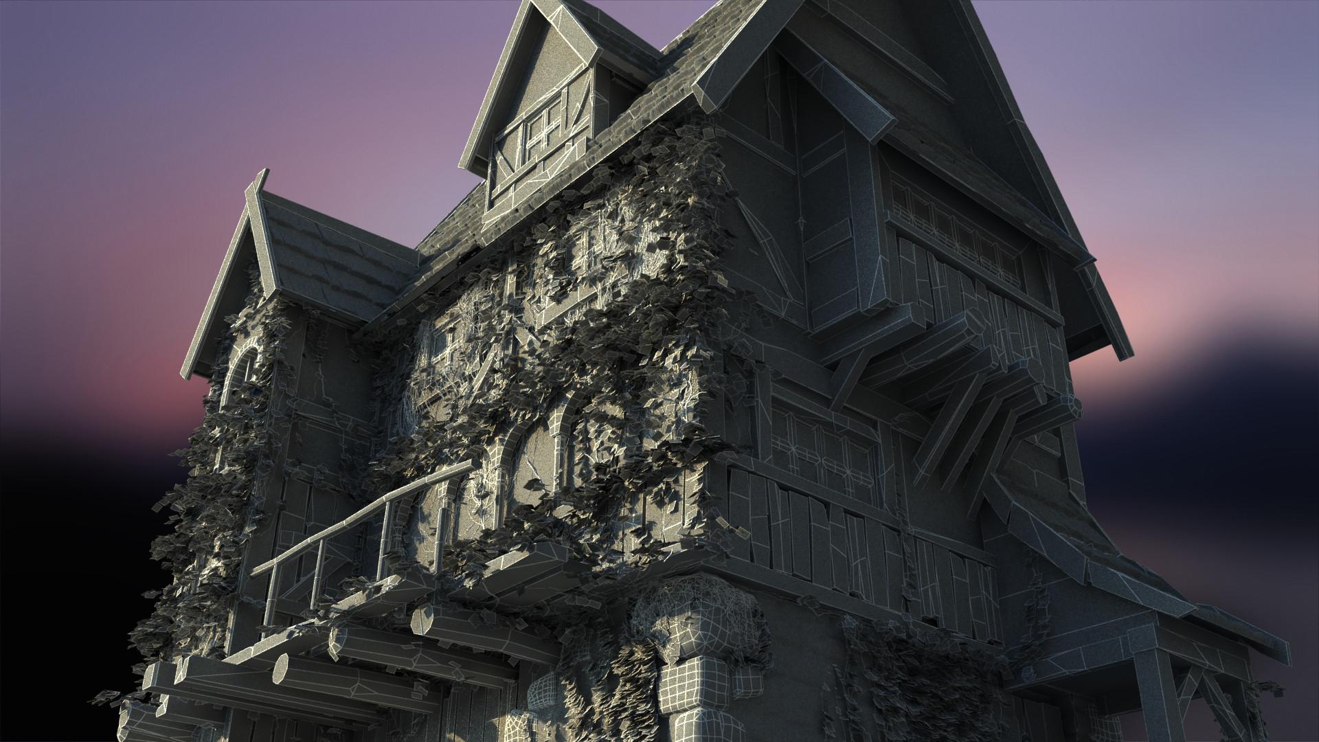 Eugene melnikov medieval house1 render frm3 wire