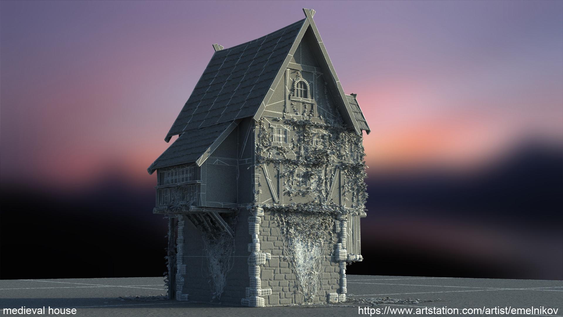 Eugene melnikov medieval house1 render frm6 wire