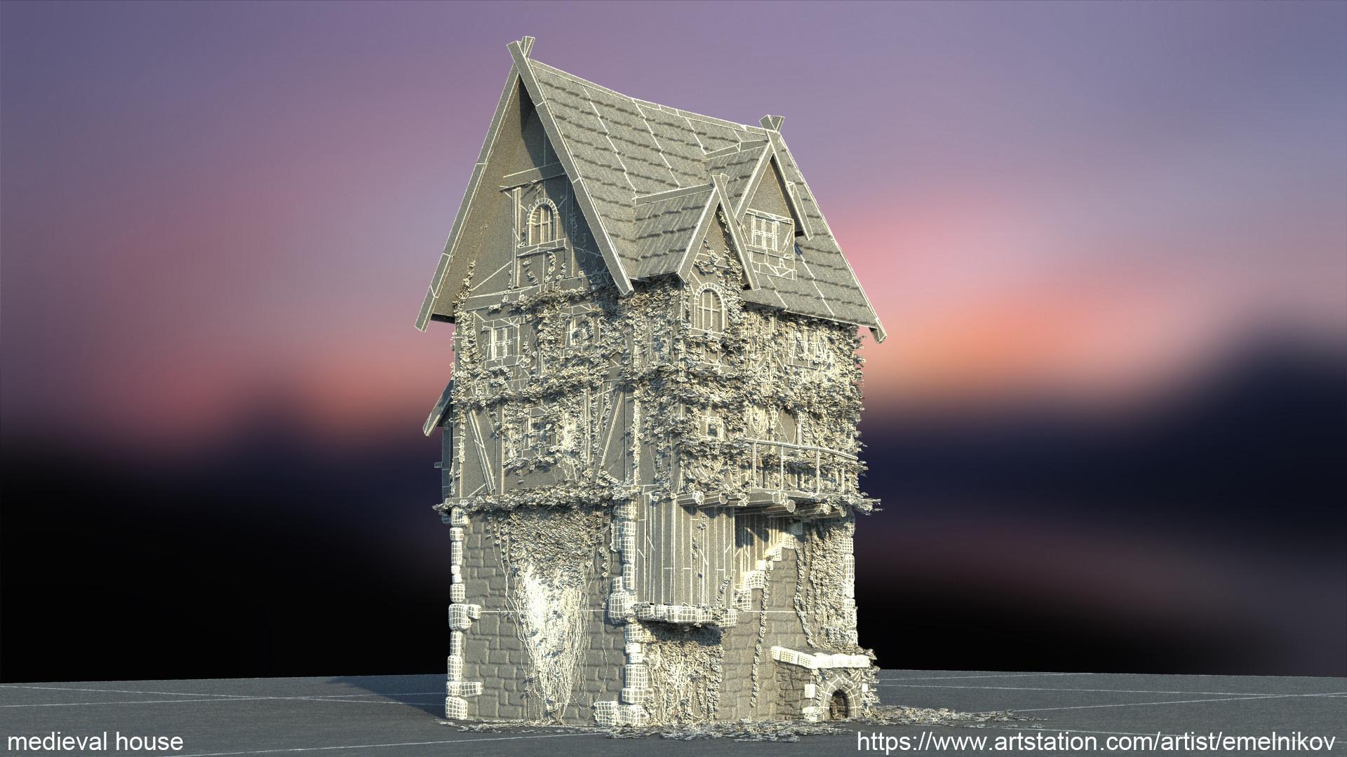 Eugene melnikov medieval house1 render frm7 wire