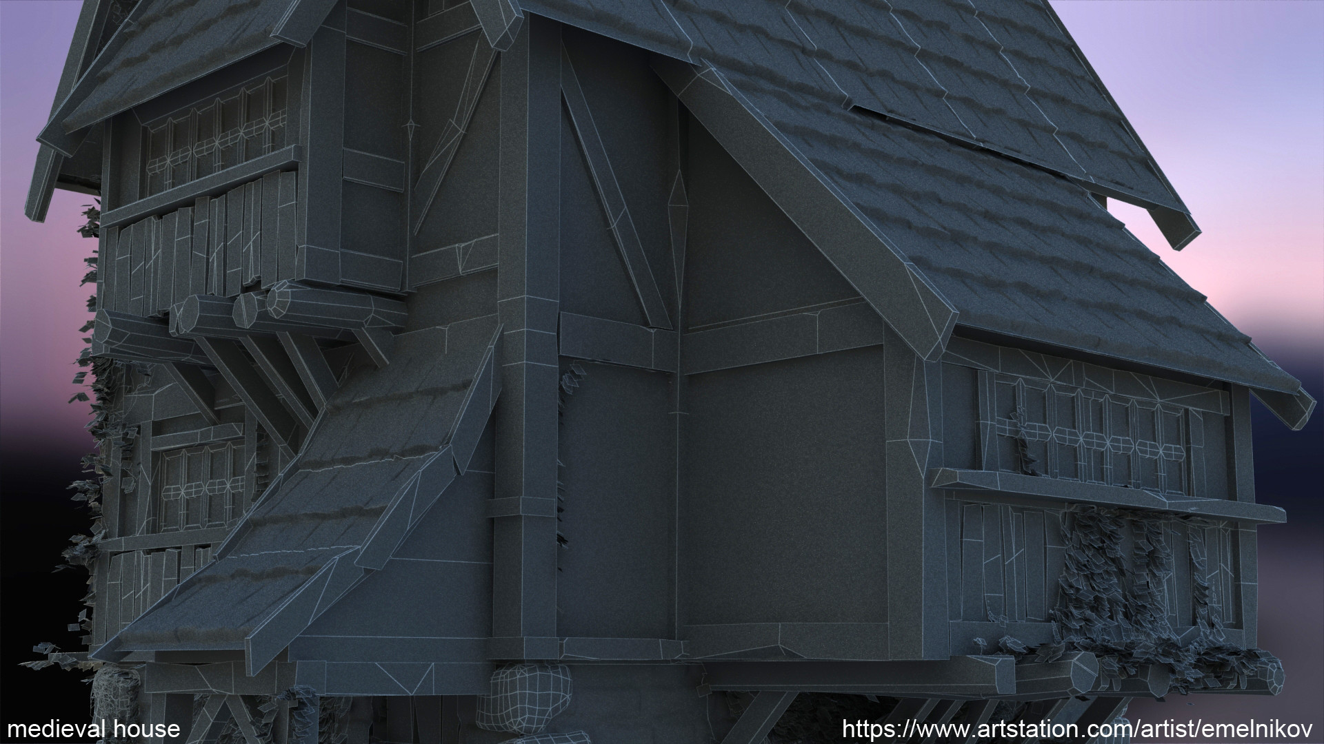 Eugene melnikov medieval house1 render frm9 wire