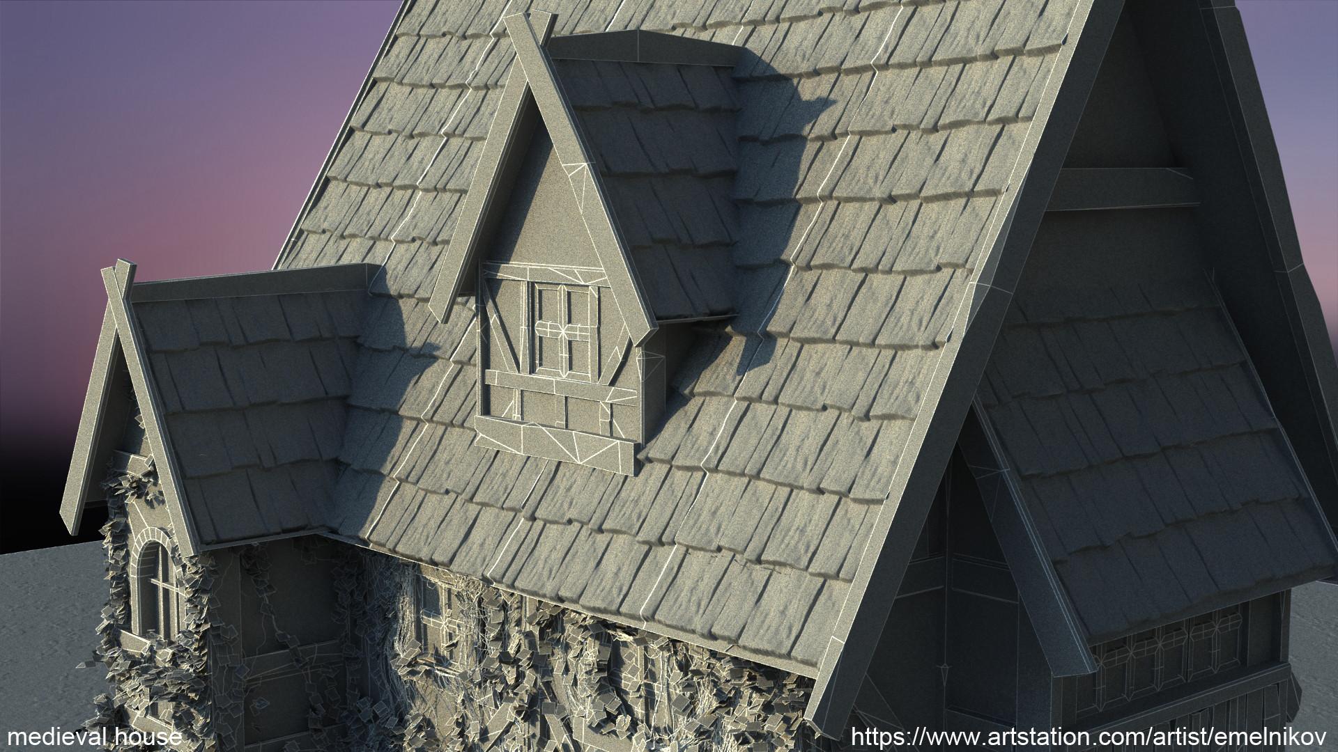 Eugene melnikov medieval house1 render frm10 wire