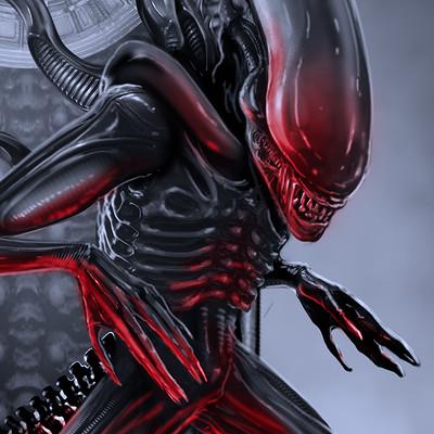 Adam milicevic alien render red hand glow