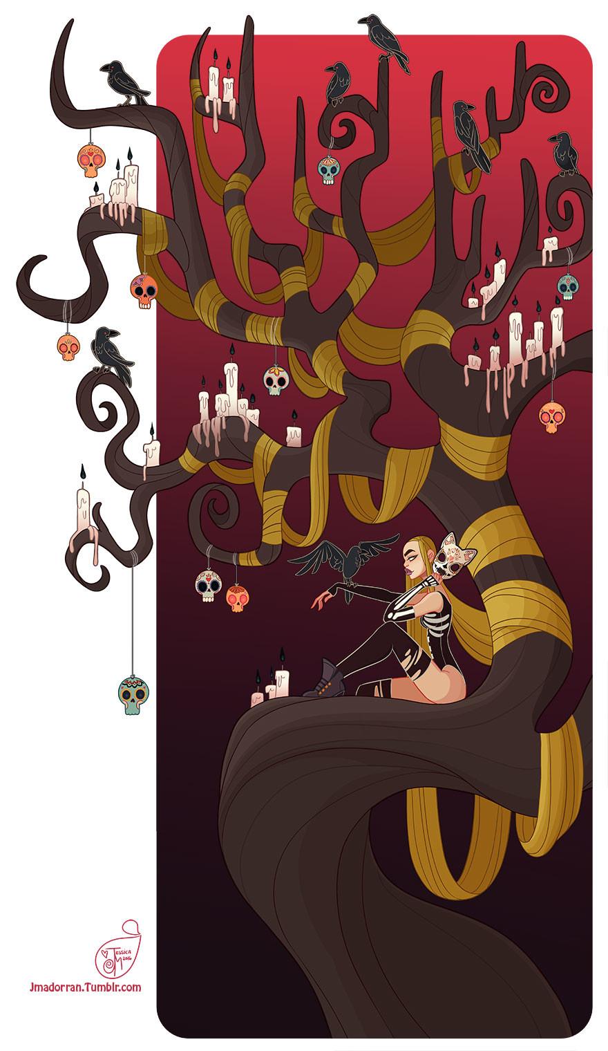 Jessica madorran character design halloween tree 2016 artstation
