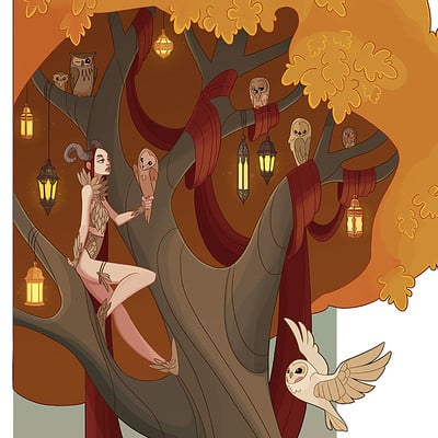 Jessica madorran character design fall tree 2016 update artstation