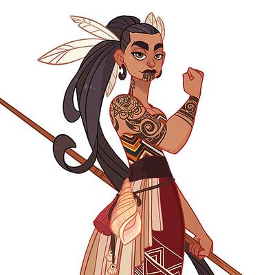 Jessica madorran character design maori warrior 2017 artstation