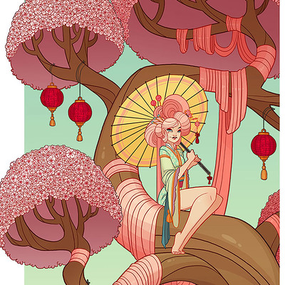 Jessica madorran character design cherry blossom tree lady 2017 artstation02