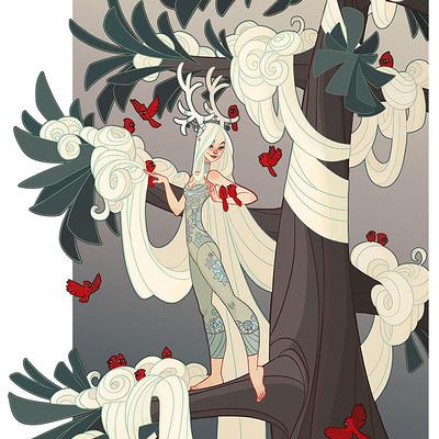 Jessica madorran character design winter tree lady 2016 02 artstation02