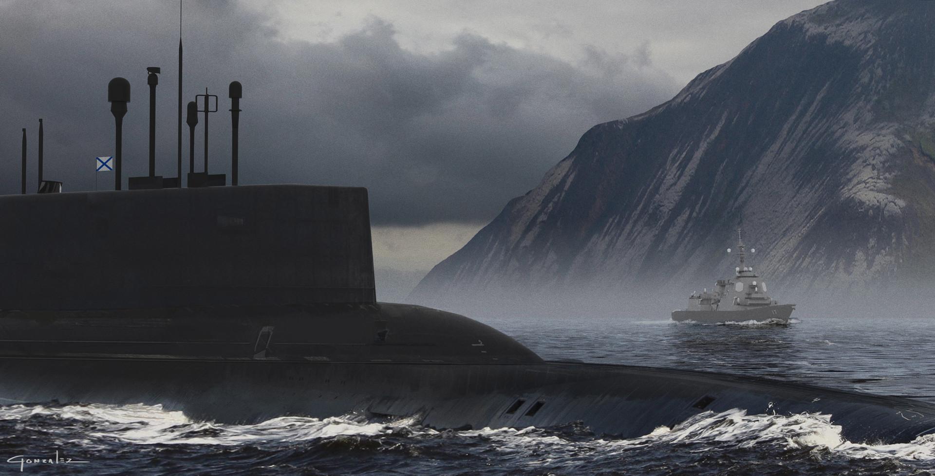 Alejandro gonzalez submarine battle concept art