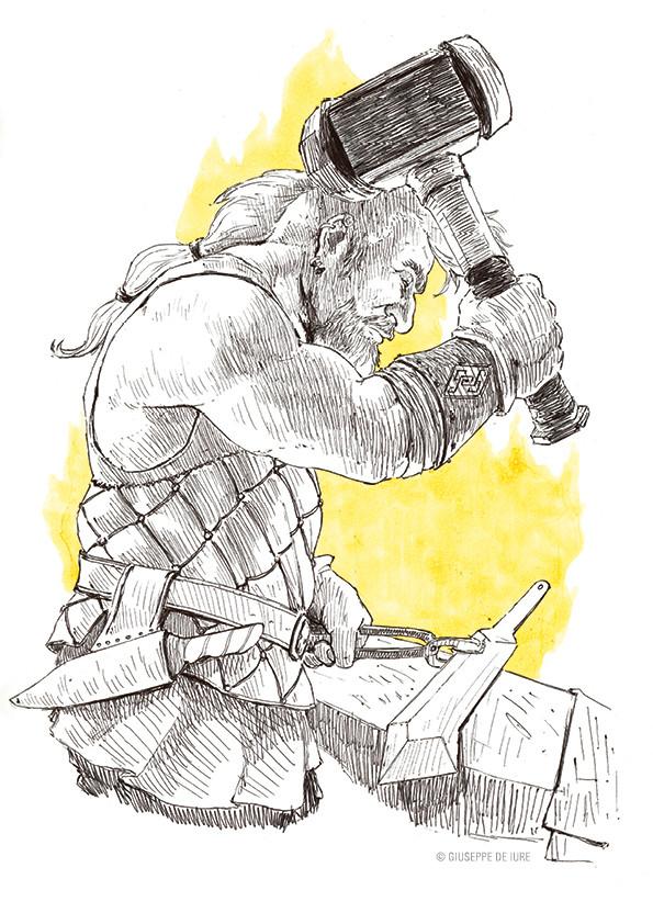 Giuseppe de iure giuseppedeiure ink sketch dwarf blacksmith